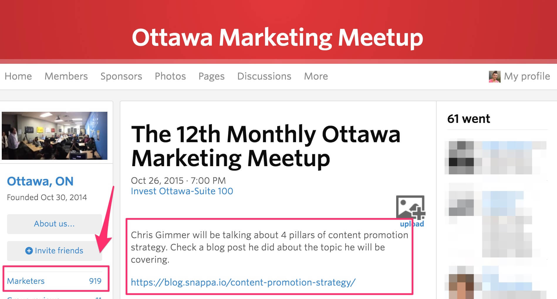 Marketing meetup group