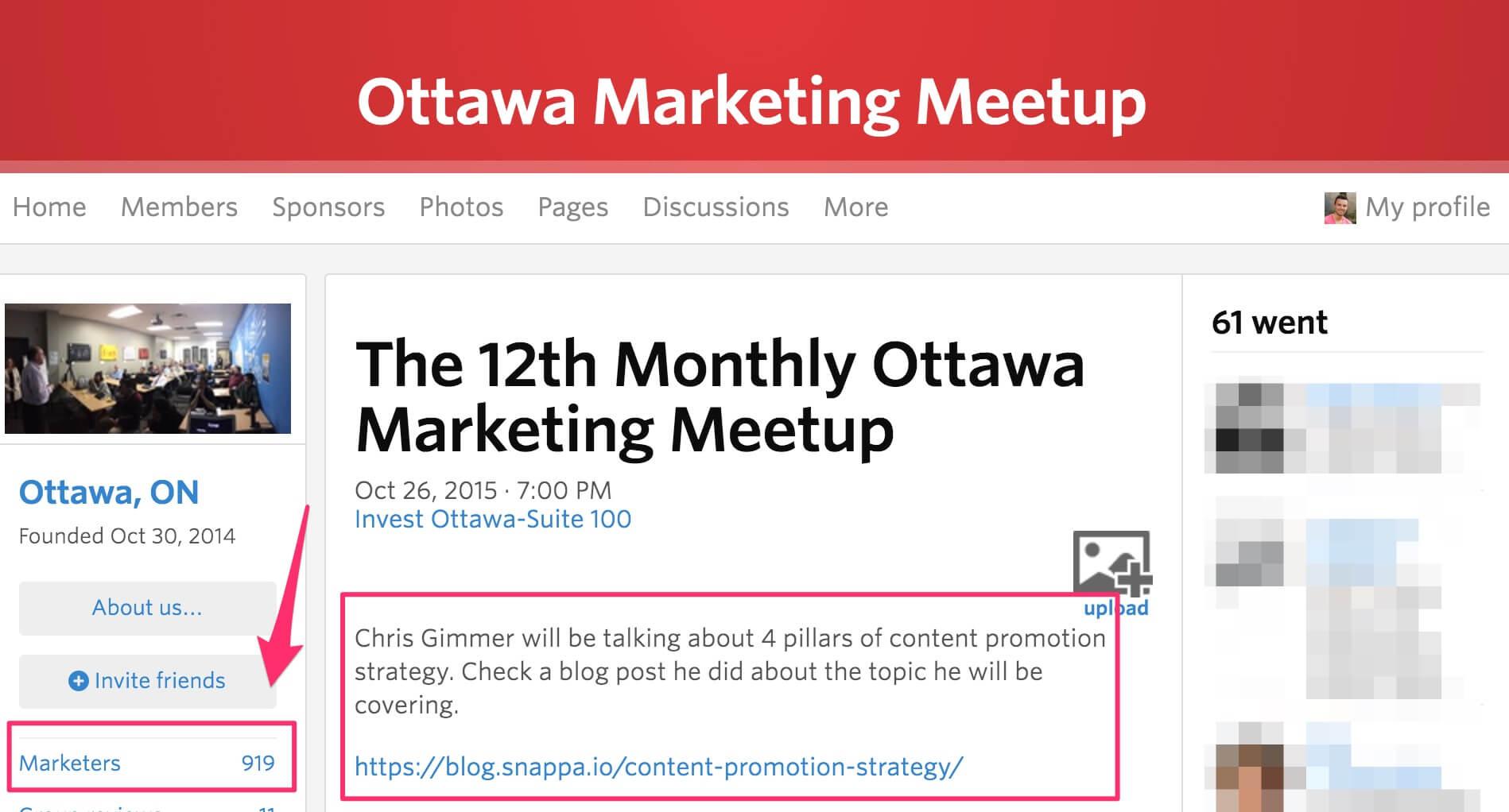 Marketing meetup group