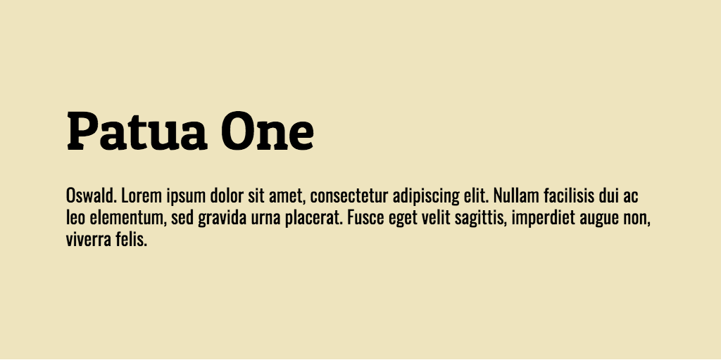 Patua One & Oswald Font Combination