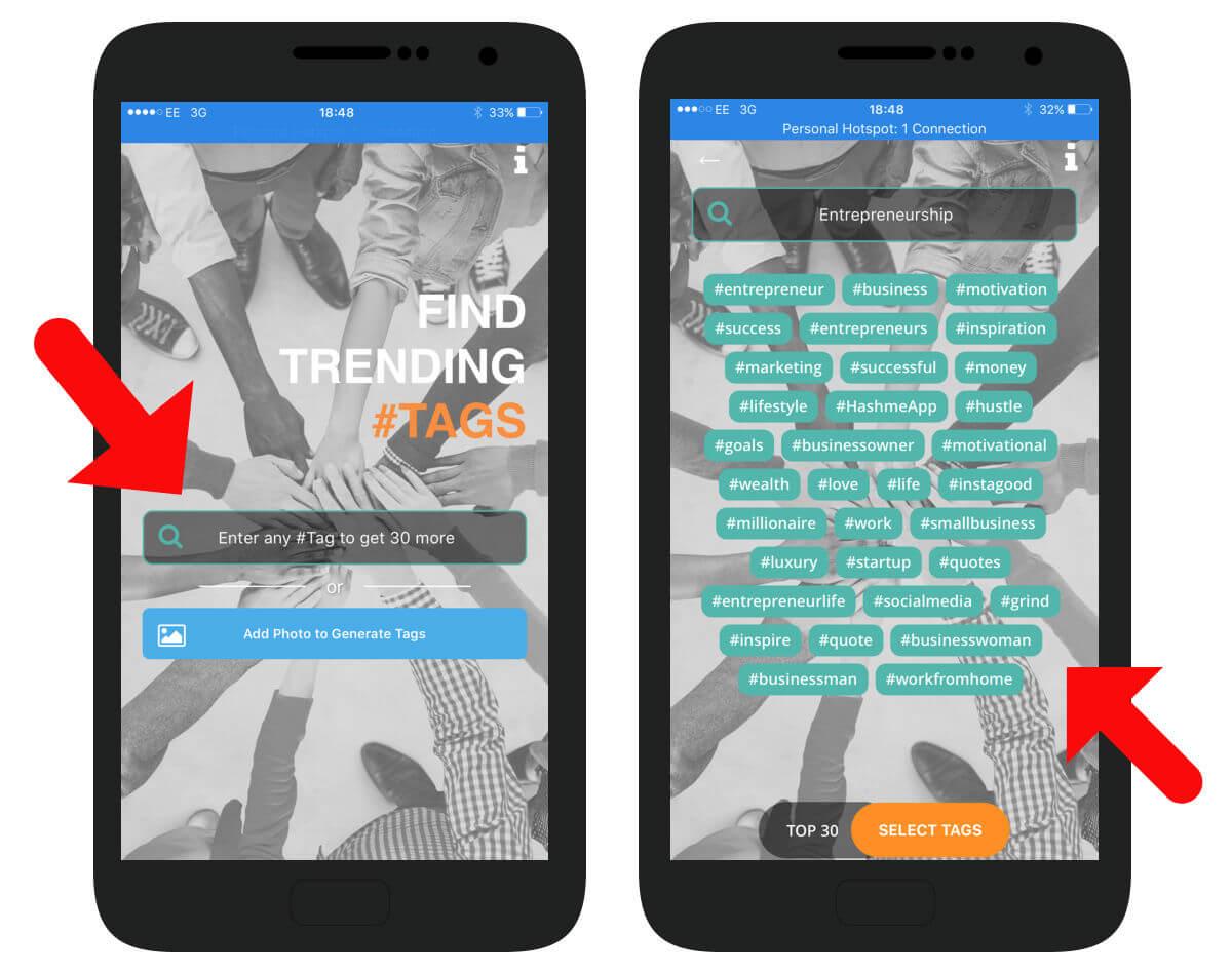 Hashme Hashtag App Snapshot
