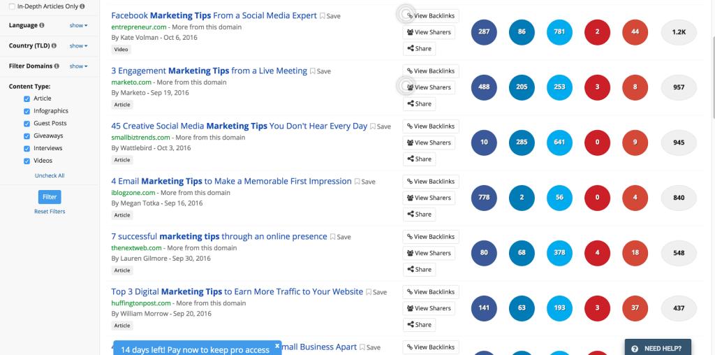 BuzzSumo social analytics