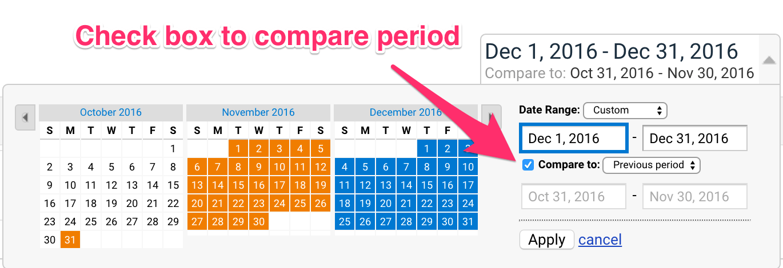 Compare period in Analytics