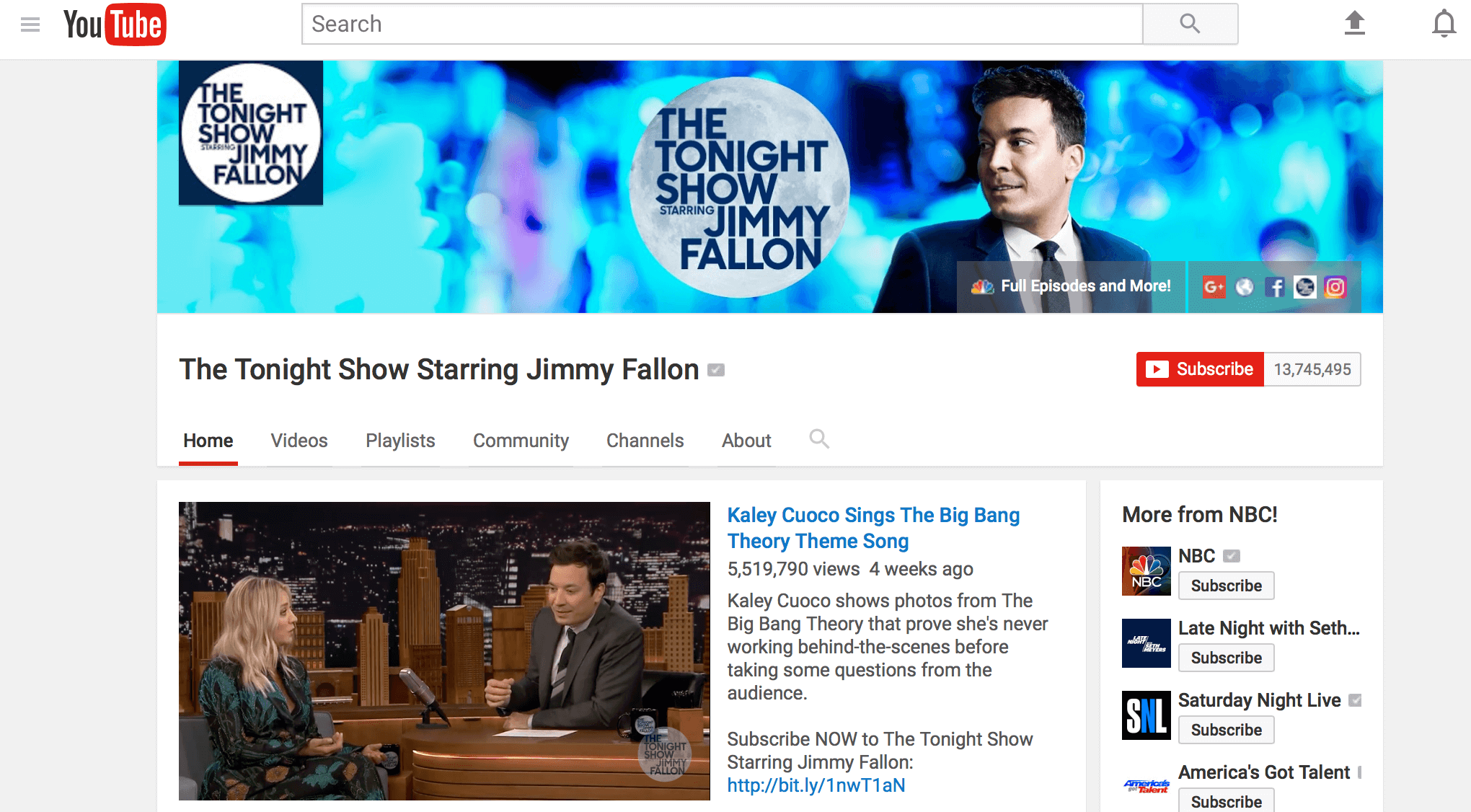 Tonight Show YouTube Channel Art