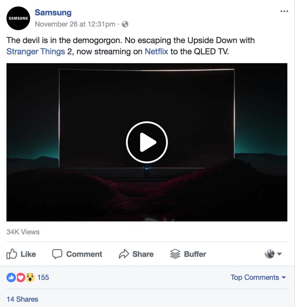video de Samsung y participación en redes sociales