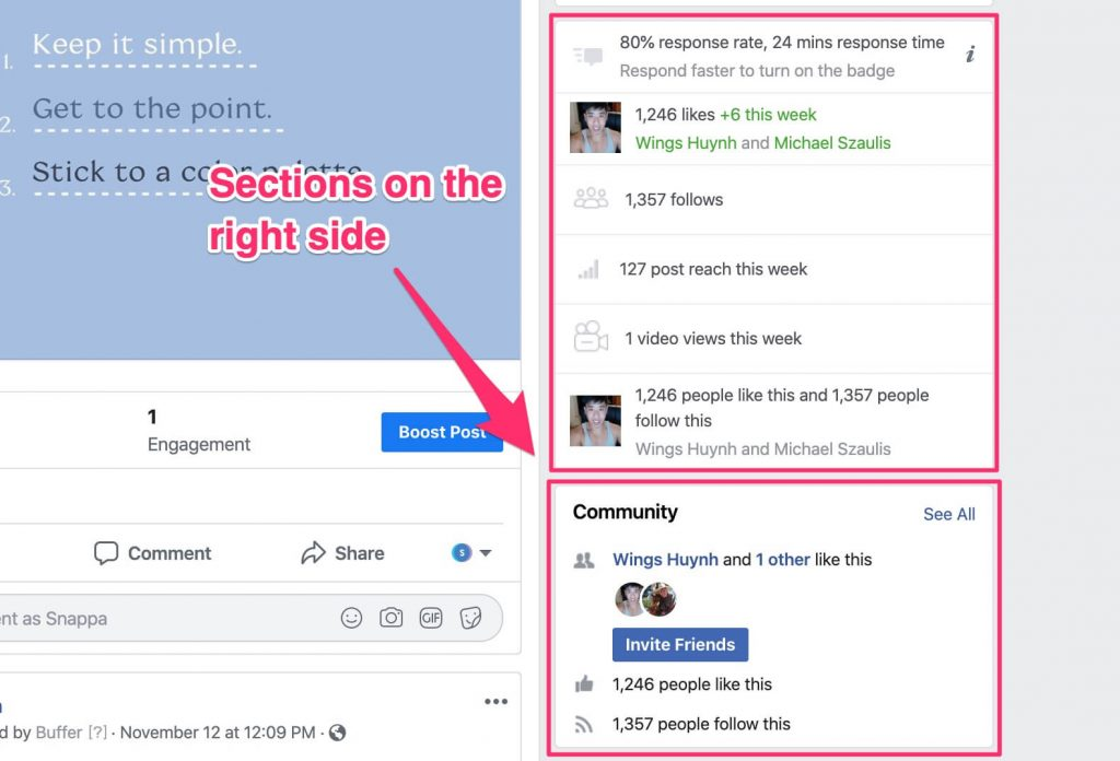 facebook page sections
