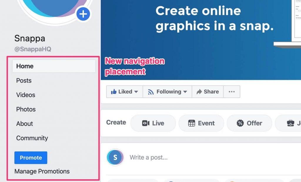 new facebook navigation bar