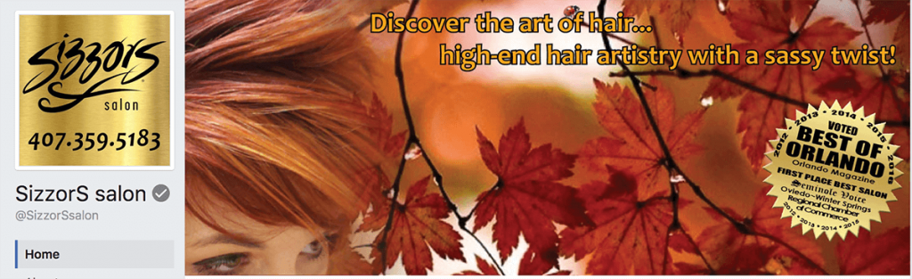 Sizzors Hair Salon Facebook cover