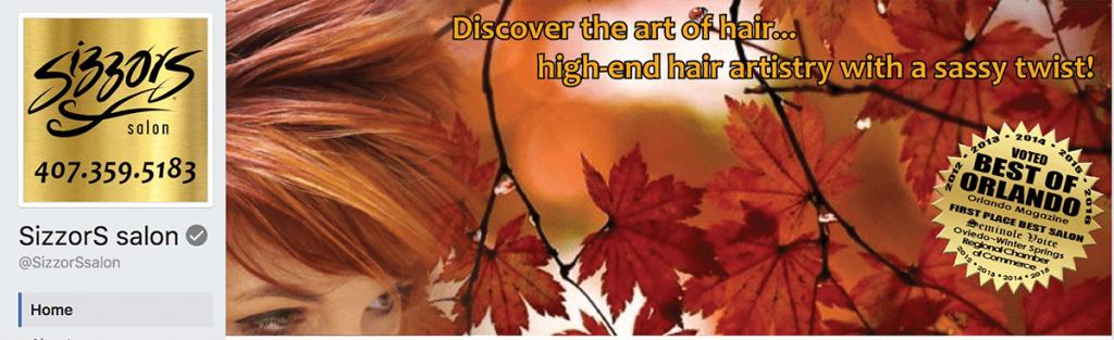 Sizzors Hair Salon Facebook cover