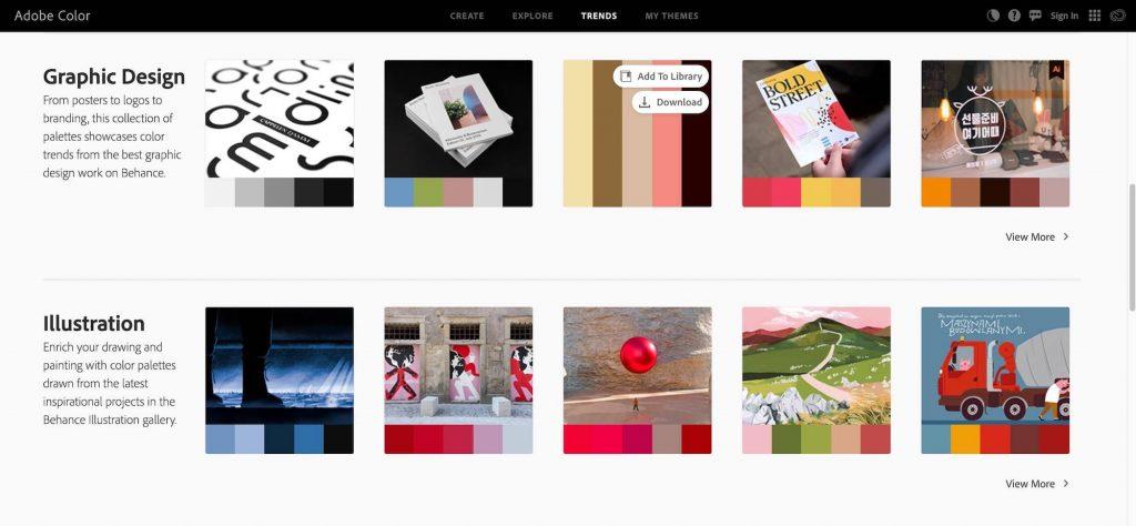 adobe trending color palettes