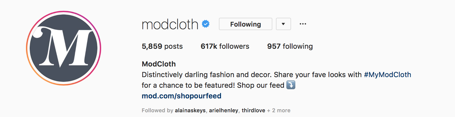 modcloth instagram feed