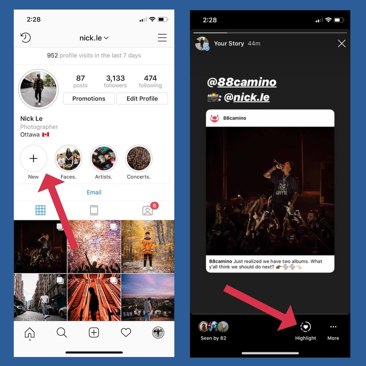 how to add Instagram story highlights