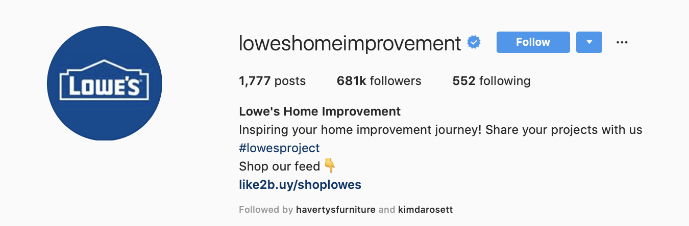 Lowes instagram profile photo