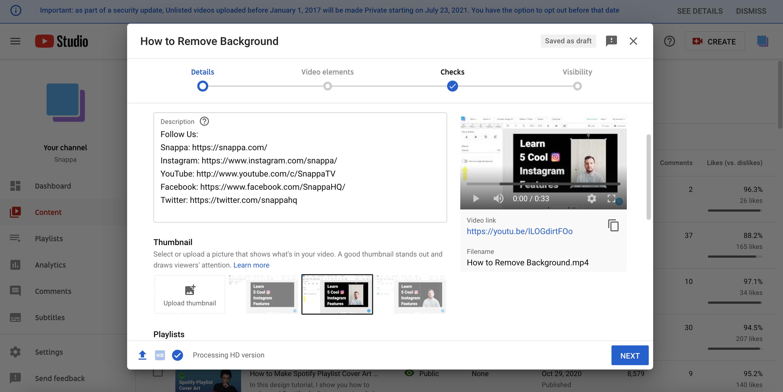 YouTube Studio Thumbnail Example