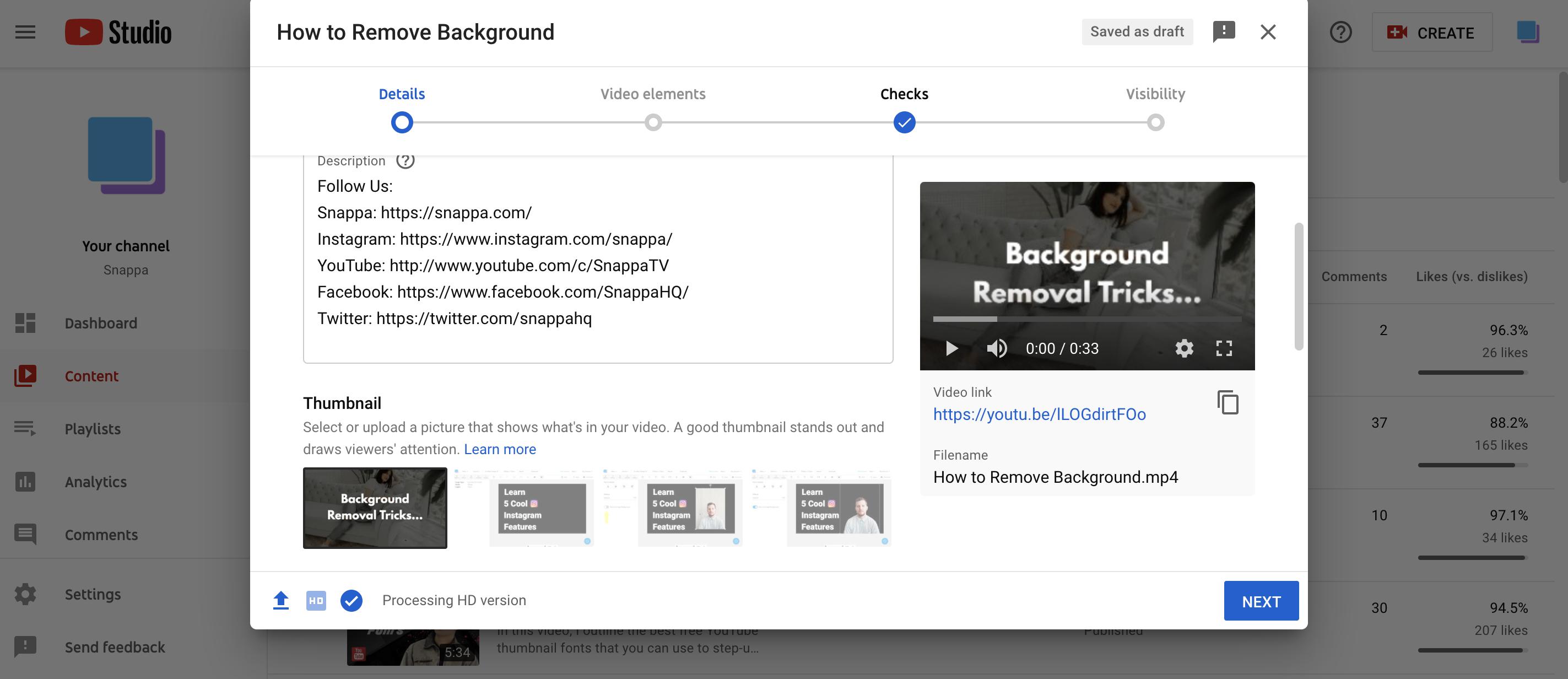 YouTube Studio Custom Thumbnail