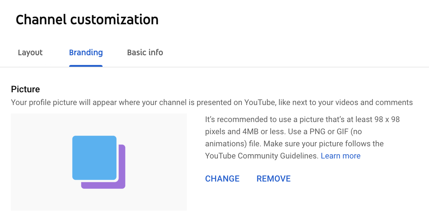youtube channel profile picture window