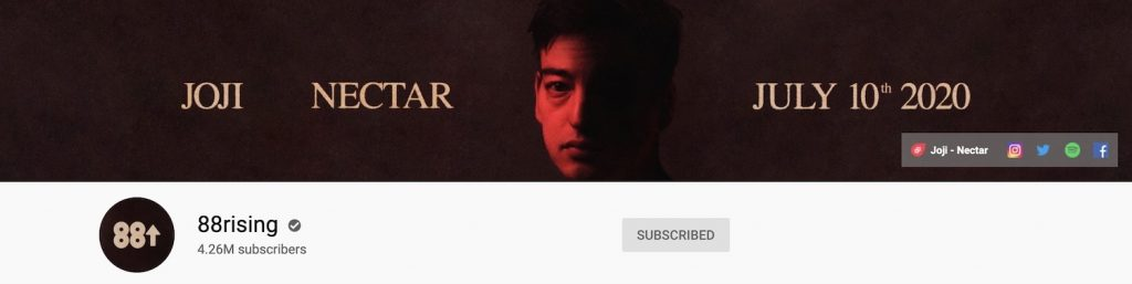 88rising channel art for YouTube